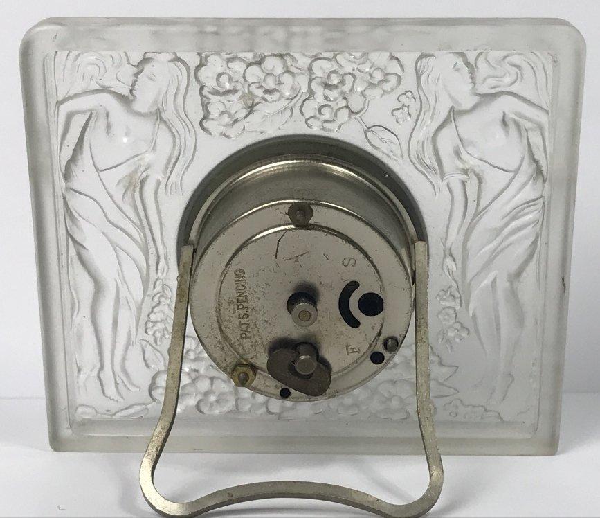 Lalique style glass clock, c.1930 - 5