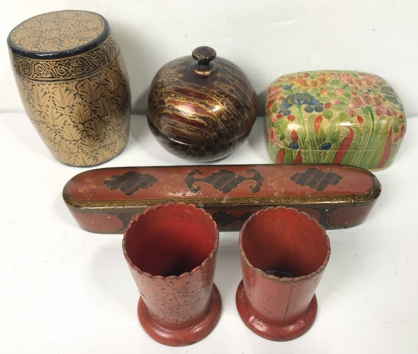 Miscellaneous Indian lacquer items