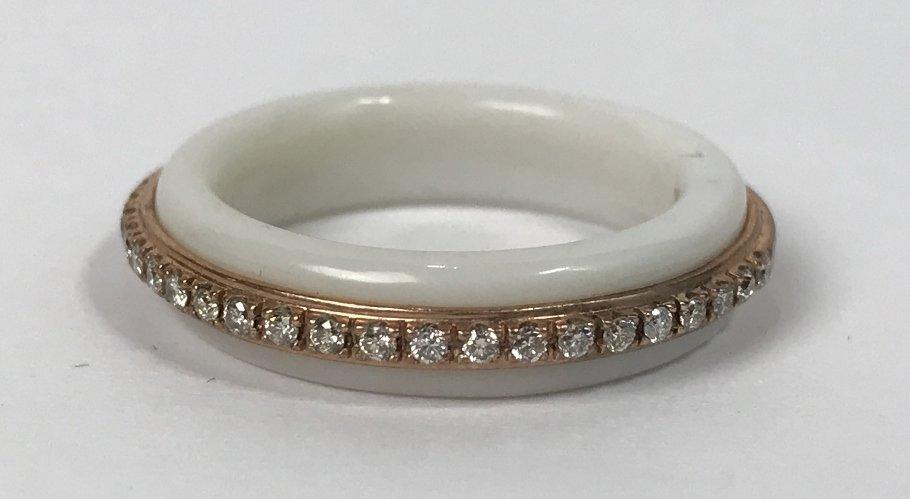 10k white coral & dia Donna Karan ring, 2.4 dwts