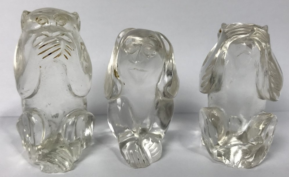 """Hear no Evil"" crystal monkeys"