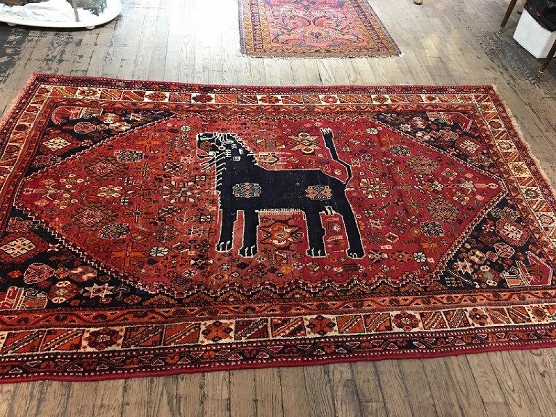 Unusual handmade pictorial carpet-dog
