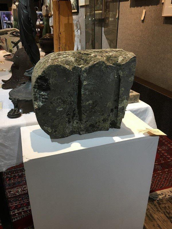 Stone sculpture, cube, Ron Street Prov
