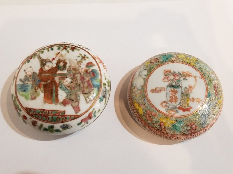 Two Chinese porcelain paste boxes