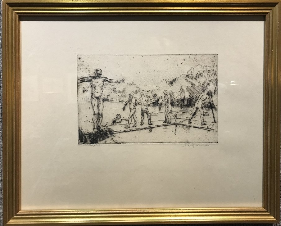 Etching of boys swimming by Albert Schinnerer