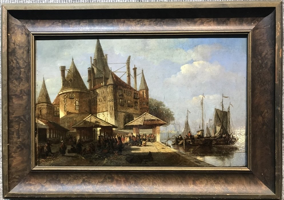 Old Master painting of Dutch port, 1780-1840