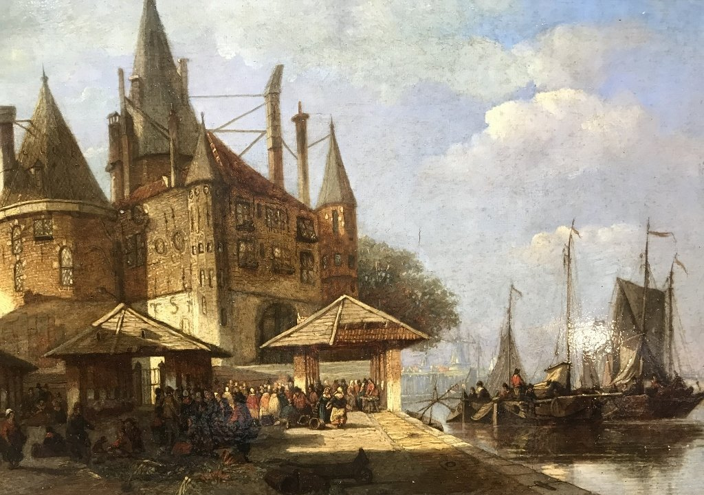 Old Master painting of Dutch port, 1780-1840 - 2