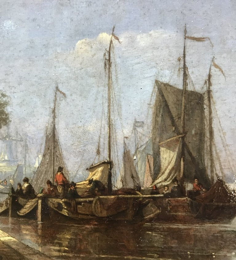 Old Master painting of Dutch port, 1780-1840 - 4