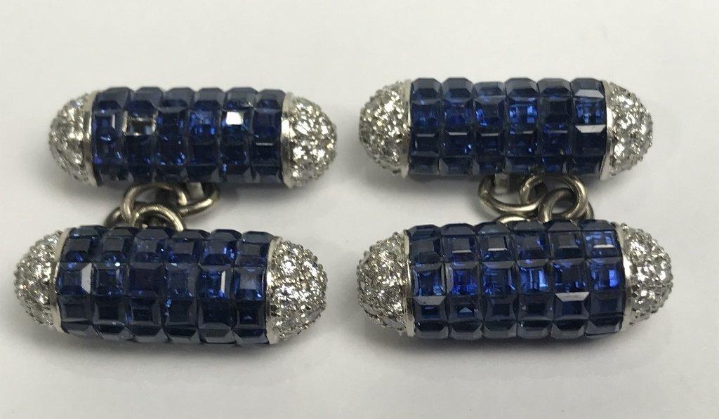 Platinum, dia and sapphire cufflinks, 13.3 dwts
