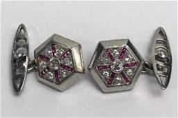 Platinum, dia and ruby cufflinks, c.1930, 6 dwts
