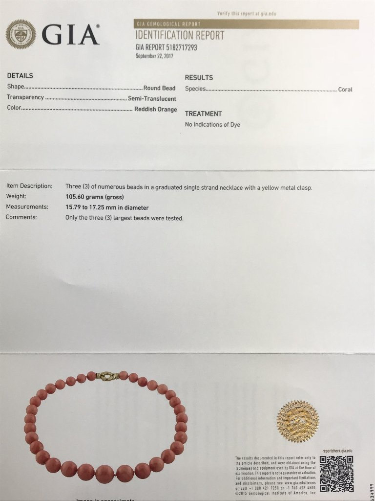 14k coral necklace, GIA report no dye - 2