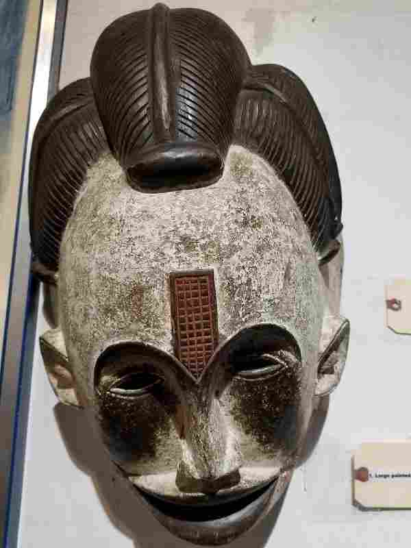 Large painted African wood mask
