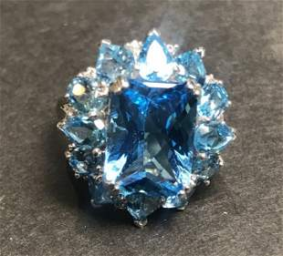 14k blue topaz ring, 4.3 dwts