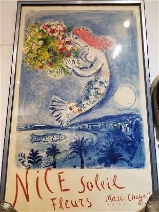 """Chagall poster, Nice Soleil Fleurs, Mourlot, 39""""x 29"""""""