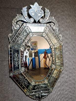 Eight-sided Venetian mirror, etched surface