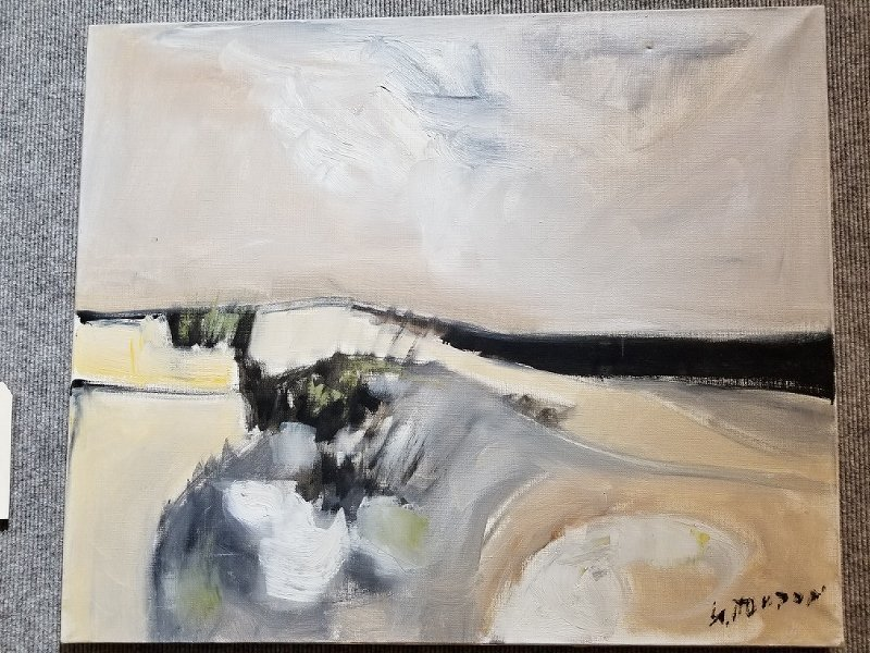 "Abstract painting, ""White Dunes"" by Guy Toubon(French)"