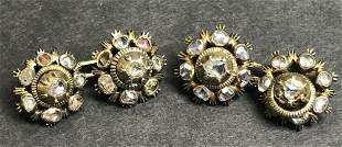 Rose cut diamond cufflinks, c.1930, 6.3 dwts