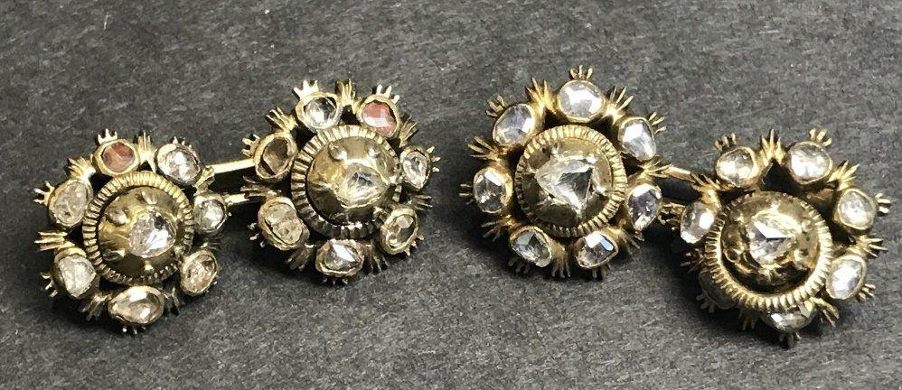 Rose cut diamond cufflinks, c.1930, 6.3 dwts
