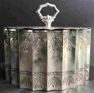 Sterling tea caddy by Harris & Shafer, 12.1 t.oz