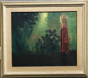 "Painting by Eliano Fantuzzi:""Girl in a Red Coat"""