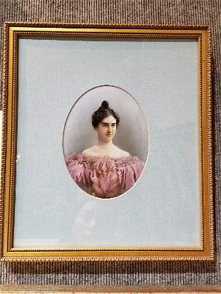 Oval porcelain plaque of woman, signed,c.1900