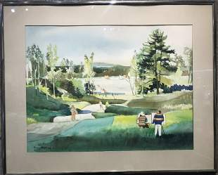 Watercolor of park lake, by Dong Kingman, c.1970
