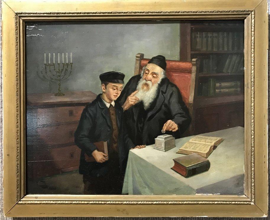 Jewish theme painting by F.Lettau, Danzig, c.1880