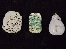 Three jade carvings, circa 1920-1950