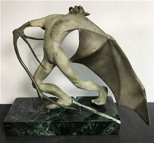 Bronze of Lucifer falling, c.1880-1930-unsigned