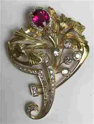 18k diamond and red tourmaline brooch, 7.2 dwts