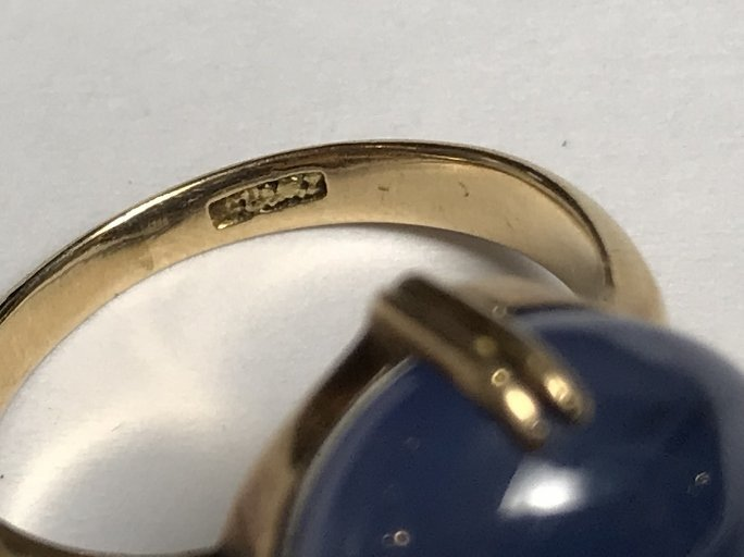 14k cabochon natural star sapphire ring-GIA - 3