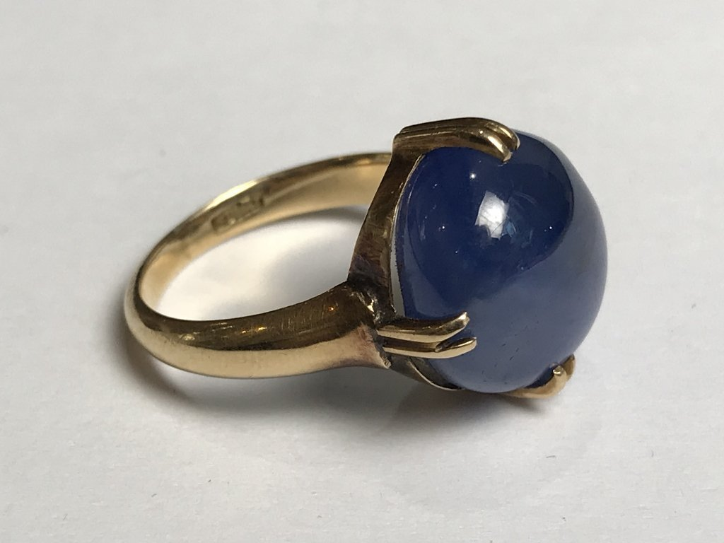 14k cabochon natural star sapphire ring-GIA - 4