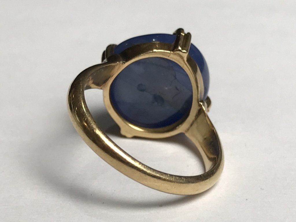 14k cabochon natural star sapphire ring-GIA - 5