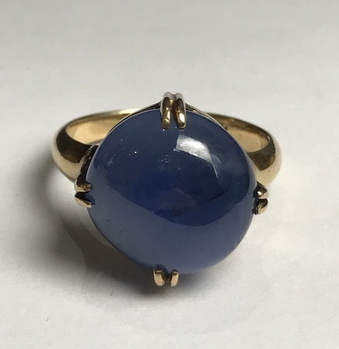 14k cabochon natural star sapphire ring-GIA - 7
