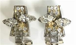 14k marquise & baguette diamond earrings,5.5 dwts