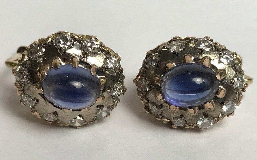 14k Russian, diamond and sapphire earrings