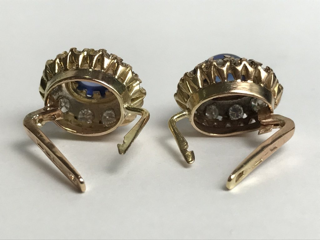14k Russian, diamond and sapphire earrings - 4