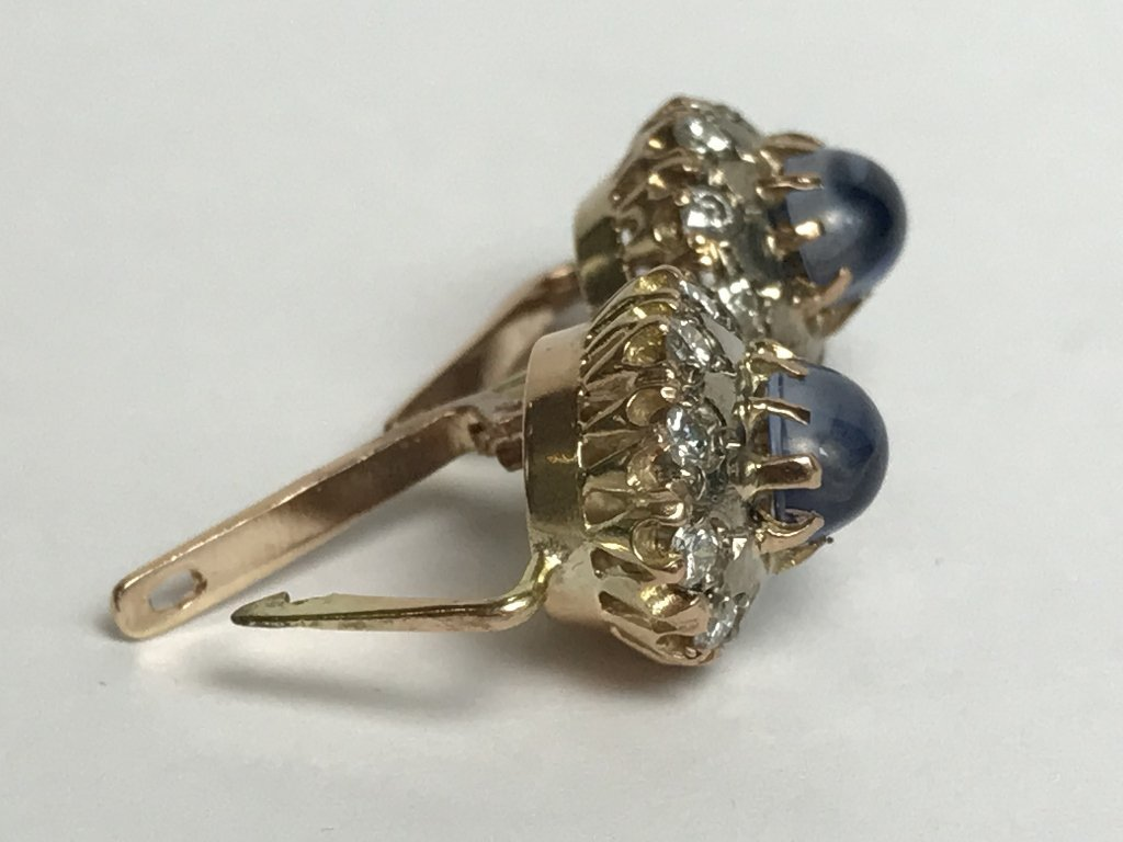 14k Russian, diamond and sapphire earrings - 5