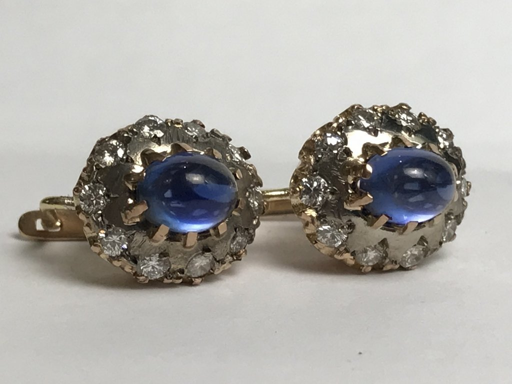 14k Russian, diamond and sapphire earrings - 6