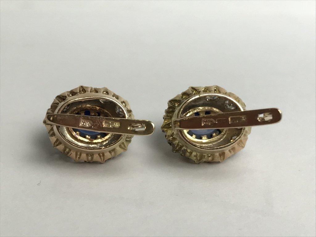 14k Russian, diamond and sapphire earrings - 7