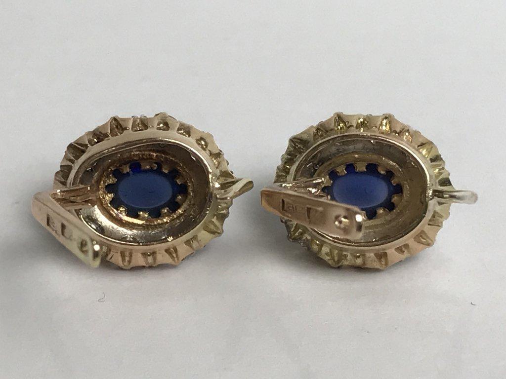 14k Russian, diamond and sapphire earrings - 8