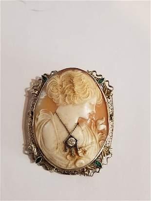 14k gold and diamond cameo brooch, circa 1925.
