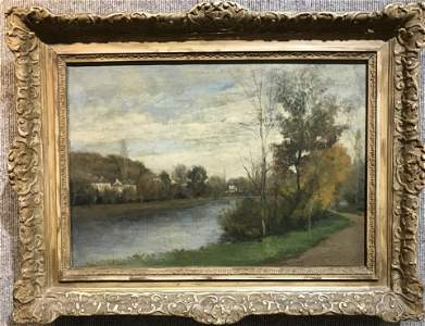 19th century landscape ptg by Corot(by label)