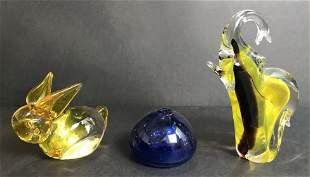 Three glass items