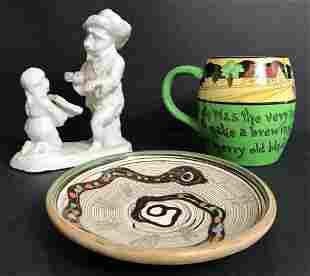 Three whimsical ceramic items