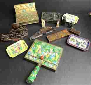 Chinese brass and soapstone items