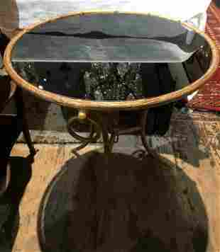 Circular gueridon gilt metal table-black glass
