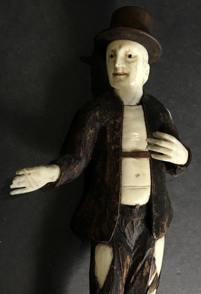 Wood and bone Simon Troger type peasants, c.1840 - 7