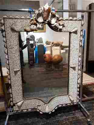 Large shell mirror,c.1925, some shells missing