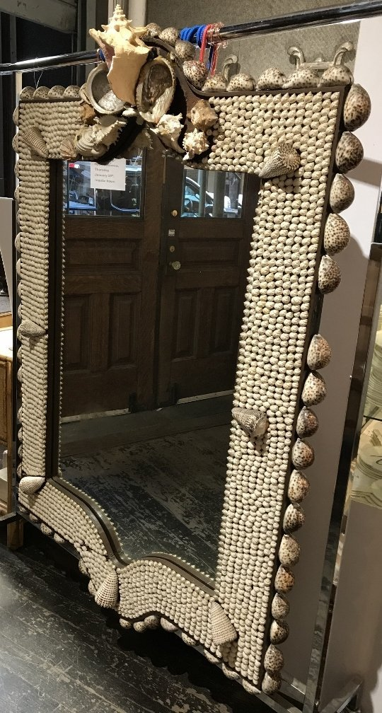 Large shell mirror,c.1925, some shells missing - 7