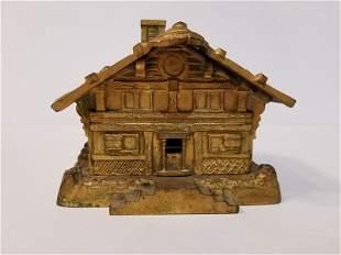 Gilt bronze Japanese hut box, c.1900